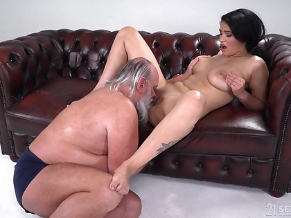 Busty young Ava Black hard fucked by a senior man