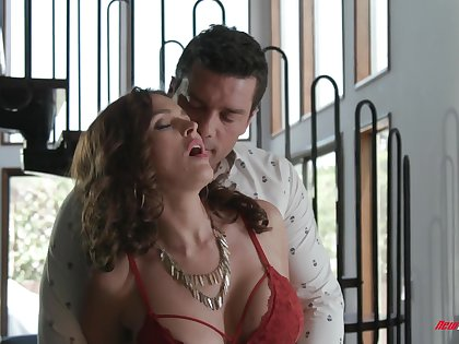 Sultry MILF with huge boobies Krissy Lynn feels nice painless she rides dick