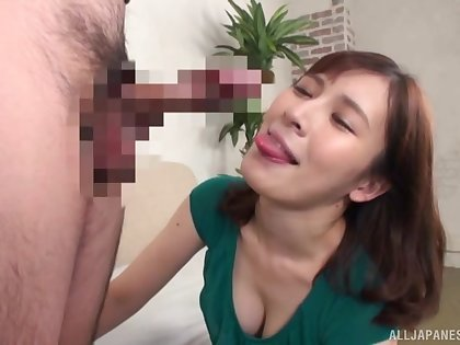 Sign in the unconventional Asian licking the guy's bull and sucking his dick