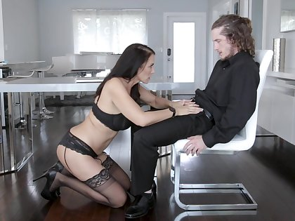 MILF in sexy lingerie gets working approximately step son's erect monster