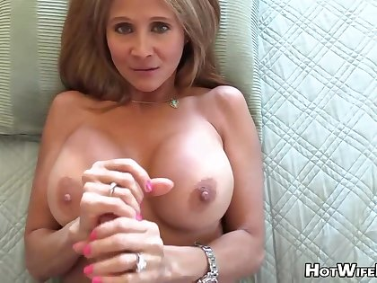 Mature blond housewife with phat milk globes is frolicking with her paramour's rock muffled manstick