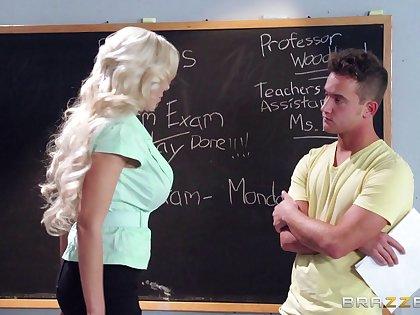 Blonde establishing teacher Nina Elle loves having sex with her student