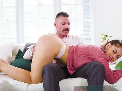 Strict daddy is spanking coupled with fucking 19 yo stepdaughter Kendra Spade