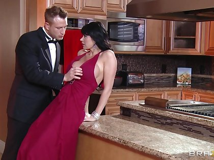 Mature slut Eva Karera teases and gets fucked in the kitchenette