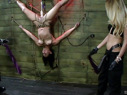 Hardcore torture session between Mila Blaze and yoke hellacious babes