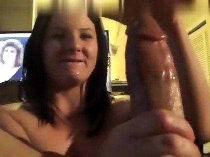 Shy brunette belle gives a great pov handjob
