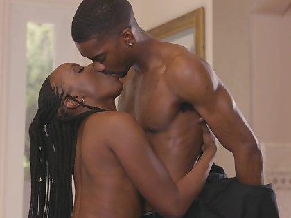 Closely-knit tits ebony girlfriend Bellah Dahl moans during nice sex