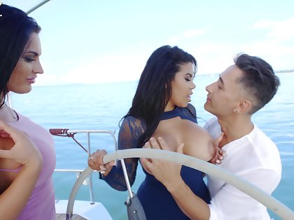 Intense threesome during concupiscent vessel trip with two Latina body of men