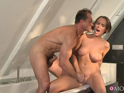 Wild fucking with natural breasts housewife Linet Slag. HD videotape