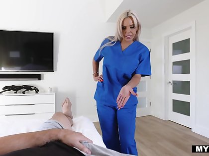 Nurse stepmom Nina Elle gives her horny stepson some sexual treatment