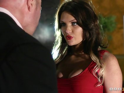 Sexy brunette Emma Leigh in stockings enjoys having passionate sex